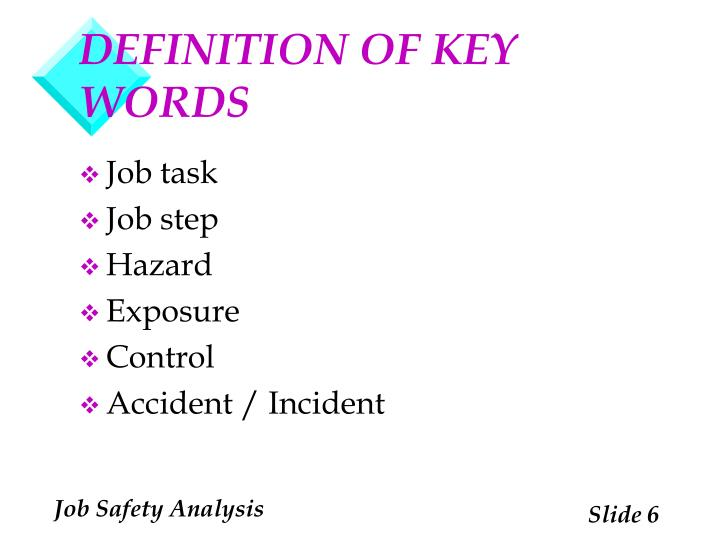 DEFINITION OF KEY WORDS