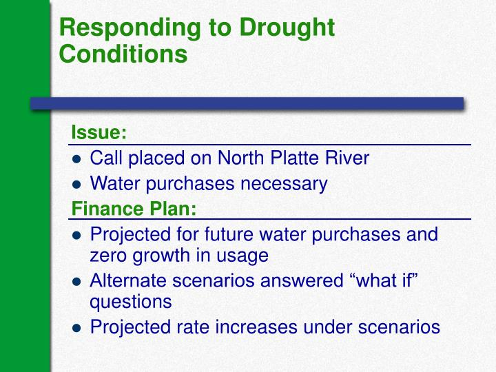 Responding to Drought Conditions