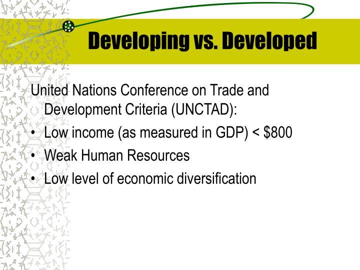 Developing vs. Developed