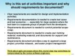 why is this set of activities important and why should requirements be documented