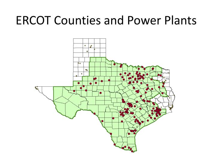Ercot counties and power plants