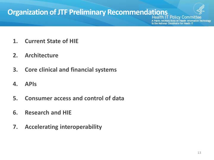 Organization of JTF Preliminary Recommendations