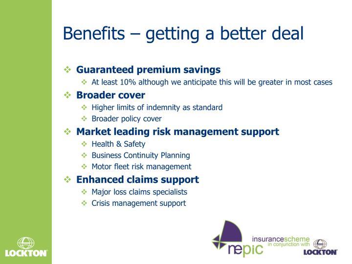 Benefits – getting a better deal