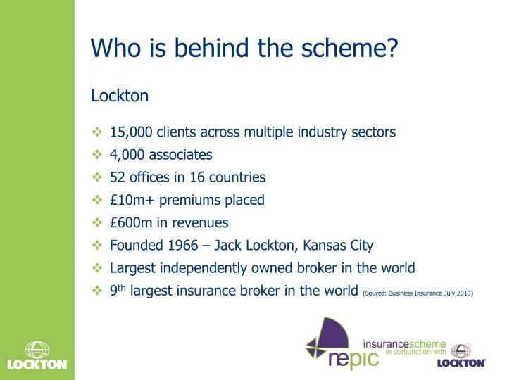 Who is behind the scheme?