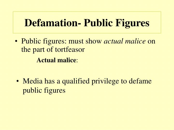 Defamation- Public Figures