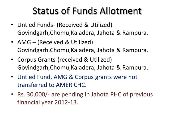 Status of Funds Allotment
