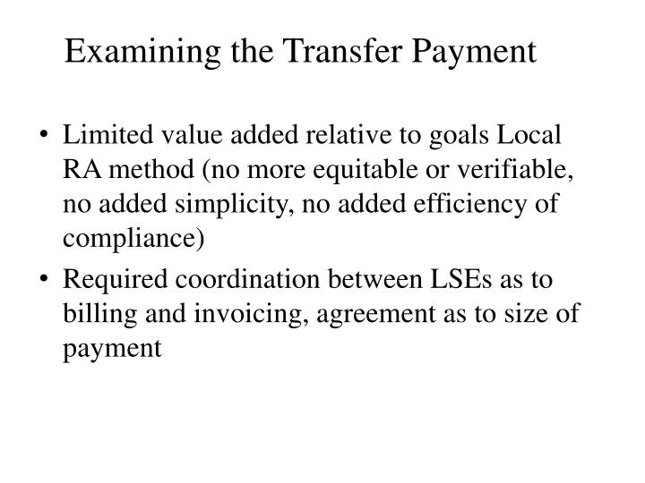 Examining the Transfer Payment