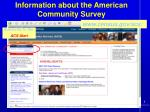 information about the american community survey