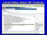 list all tables select 08 products