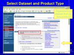 select dataset and product type