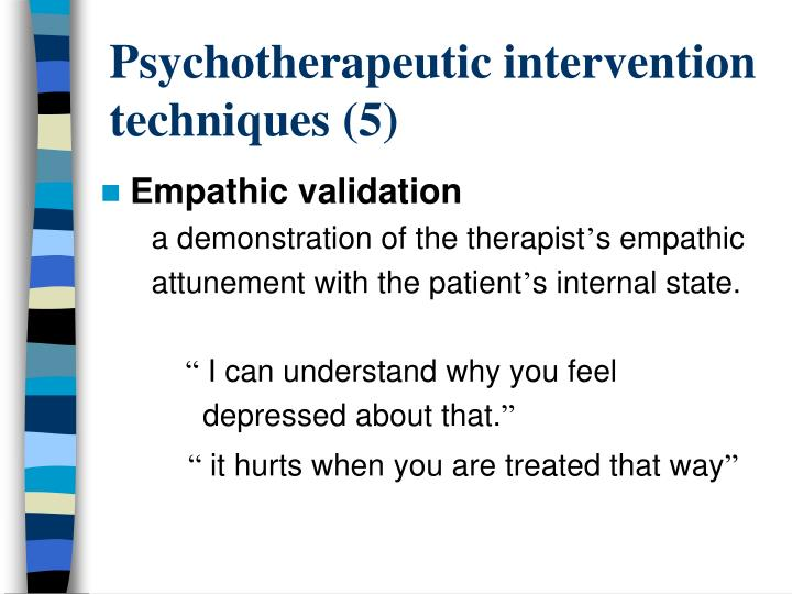 Psychotherapeutic intervention techniques (5)