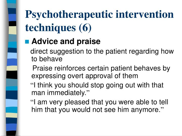 Psychotherapeutic intervention techniques (6)