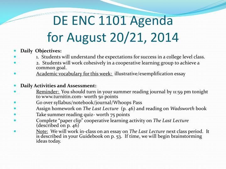 DE ENC 1101 Agenda