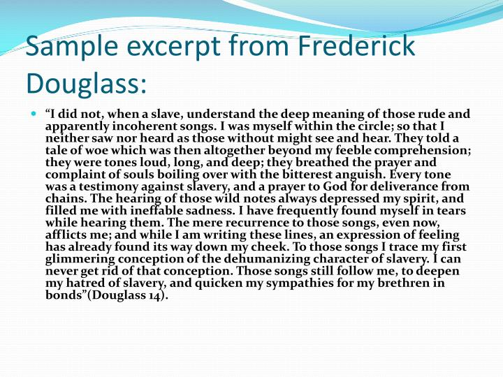 Sample excerpt from frederick douglass