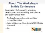 about the workshops in this conference