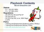 playbook contents not an exhaustive list