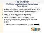 the wiasrd workforce investment act standardized record data