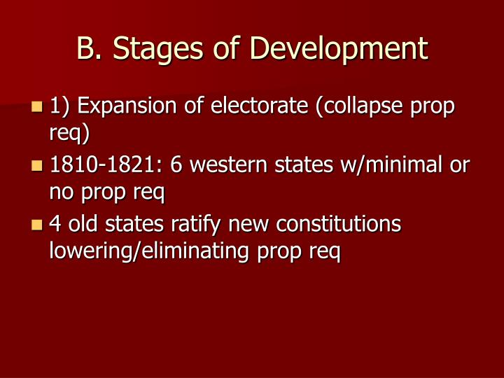 B. Stages of Development
