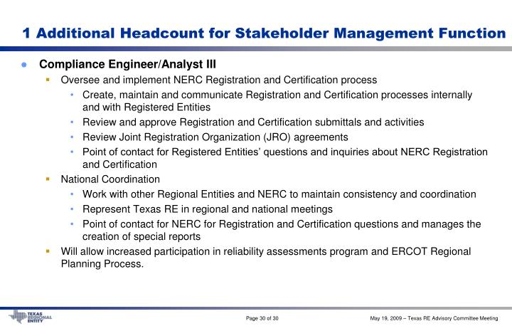 1 Additional Headcount for Stakeholder Management Function