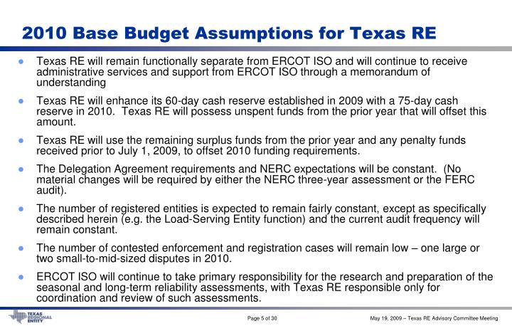 2010 Base Budget Assumptions for Texas RE