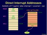 direct interrupt addresses