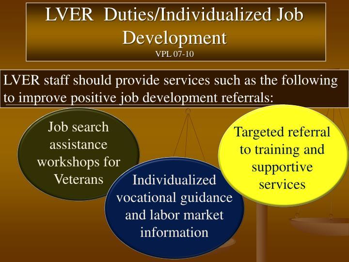 LVER  Duties/Individualized Job Development
