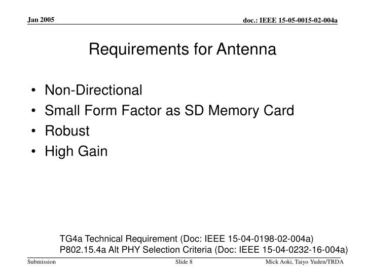 Requirements for Antenna