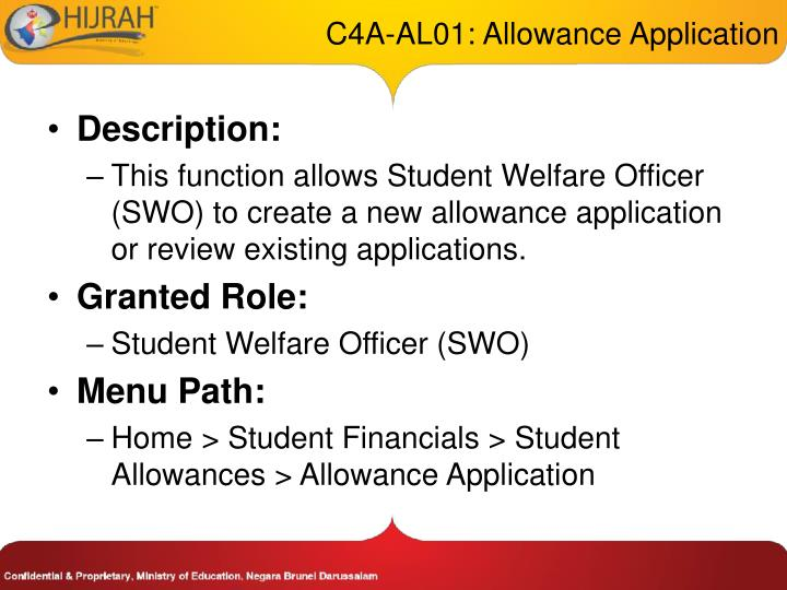 C4A-AL01: Allowance Application
