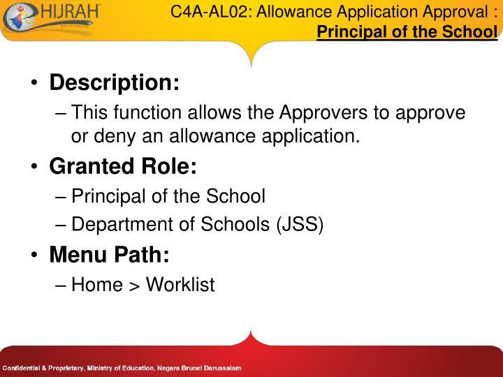 C4A-AL02: Allowance Application Approval :