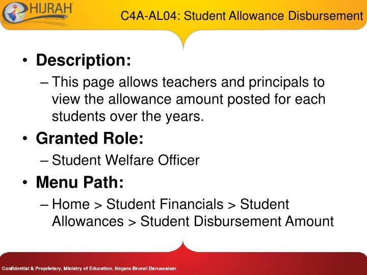 C4A-AL04: Student Allowance Disbursement