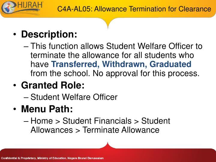 C4A-AL05: Allowance Termination for Clearance