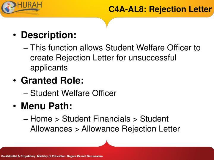 C4A-AL8: Rejection Letter