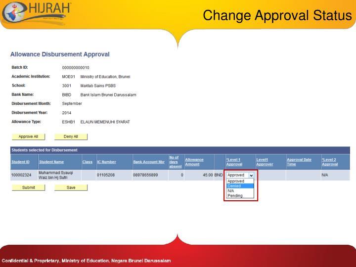 Change Approval Status