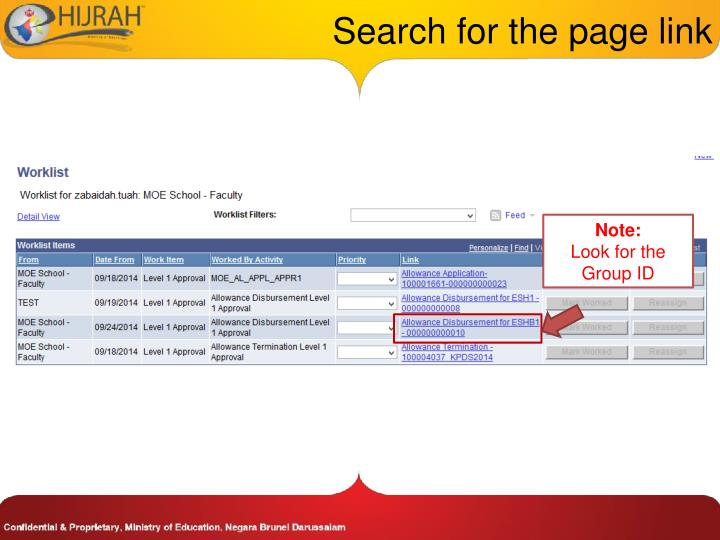 Search for the page link