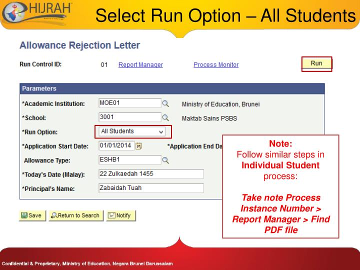 Select Run Option – All Students