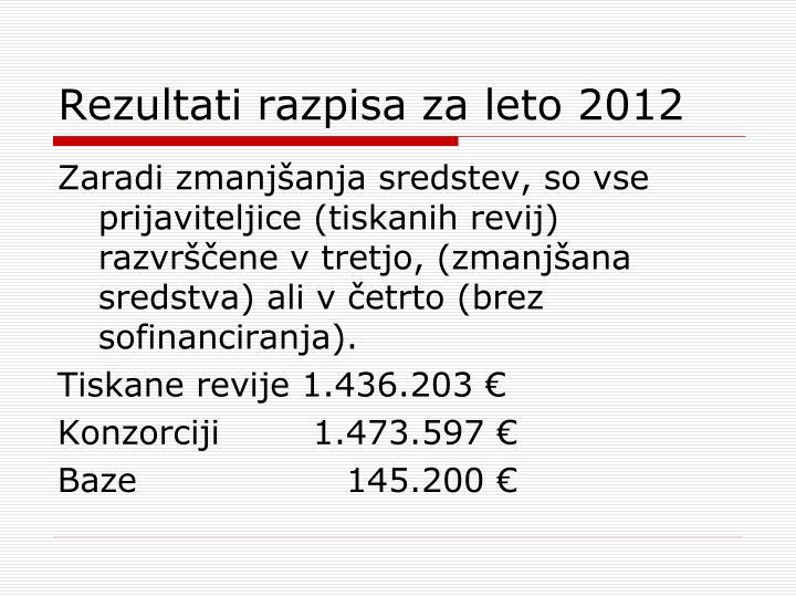 Rezultati razpisa za leto 2012