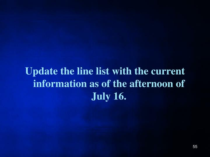 Update the line list with the current information as of the afternoon of July 16.