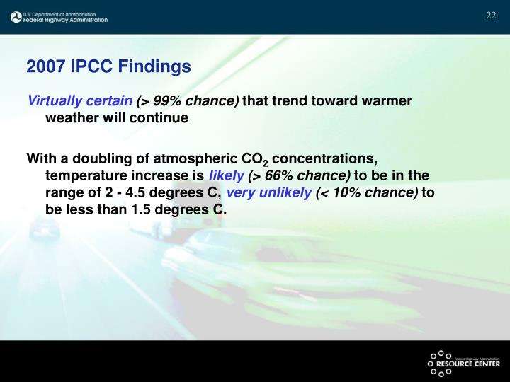 2007 IPCC Findings