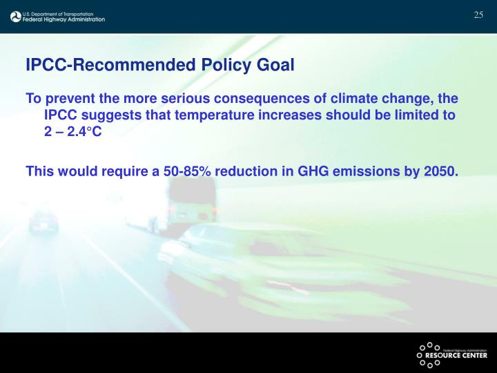 IPCC-Recommended Policy Goal