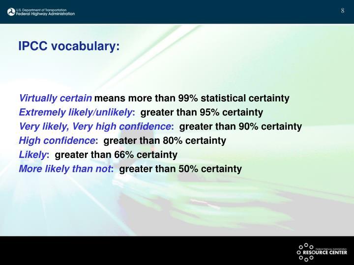 IPCC vocabulary: