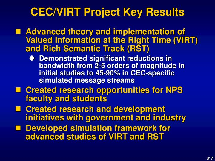 CEC/VIRT Project Key Results