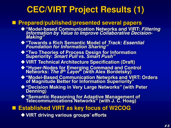 CEC/VIRT Project Results (1)