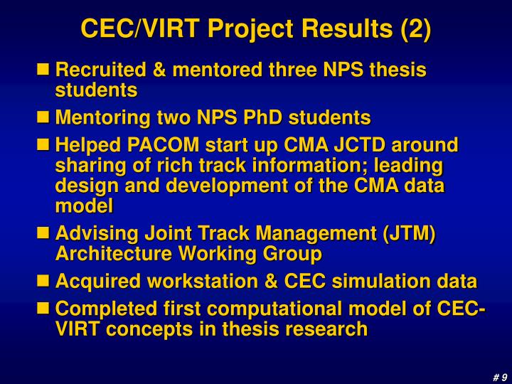 CEC/VIRT Project Results (2)