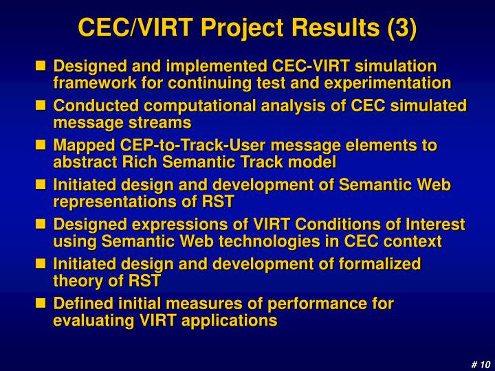 CEC/VIRT Project Results (3)