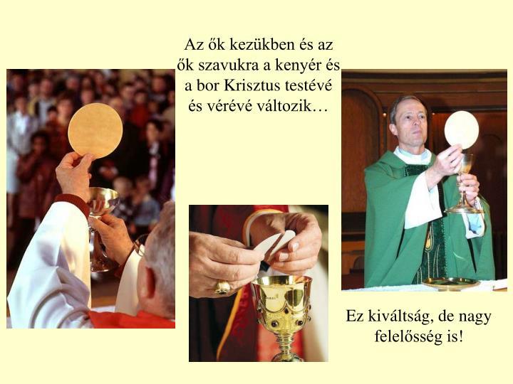 Az ők kezükben és az ők szavukra a kenyér és a bor Krisztus testévé és vérévé változik…