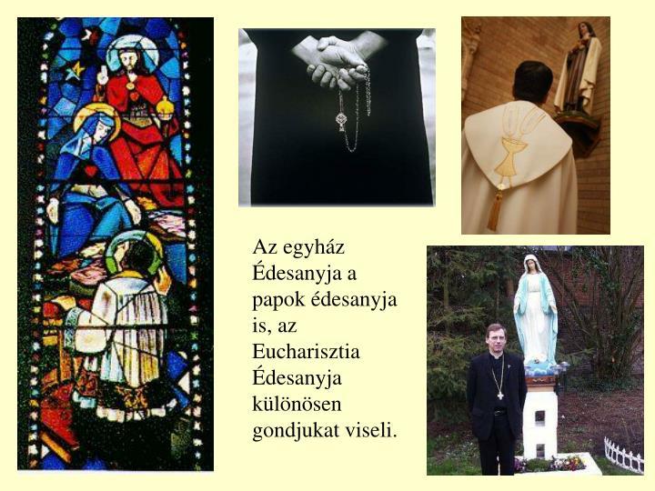 Az egyház Édesanyja a papok édesanyja is, az Eucharisztia Édesanyja különösen gondjukat viseli.