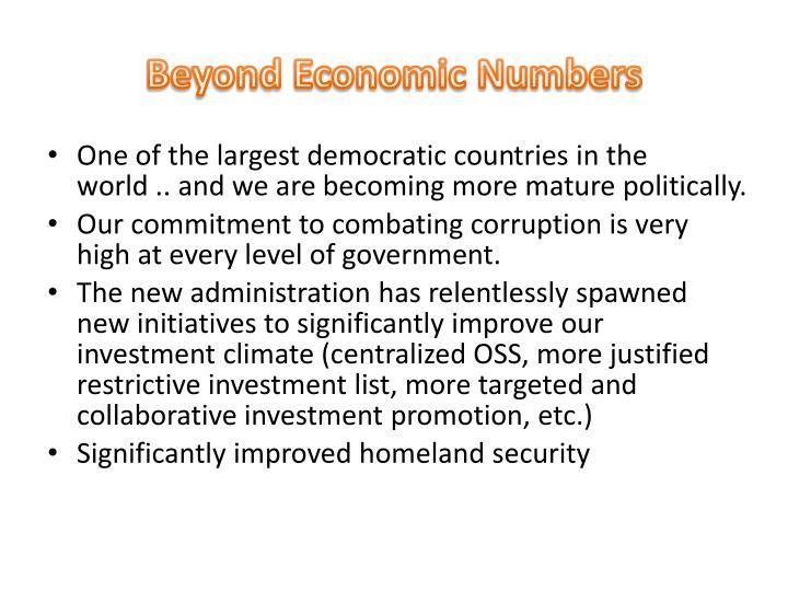 Beyond Economic Numbers