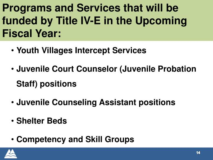 Programs and Services that will be funded by Title IV-E in the Upcoming Fiscal Year: