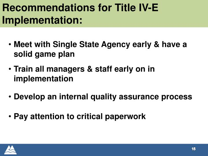 Recommendations for Title IV-E Implementation: