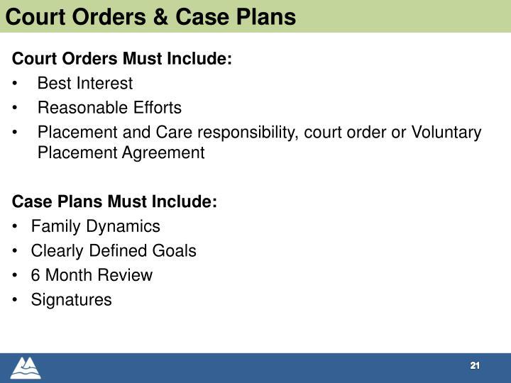 Court Orders & Case Plans